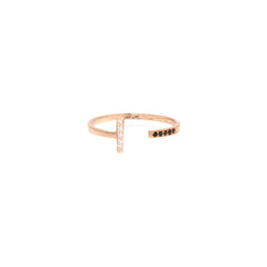 14k mixed pave vertical line ring