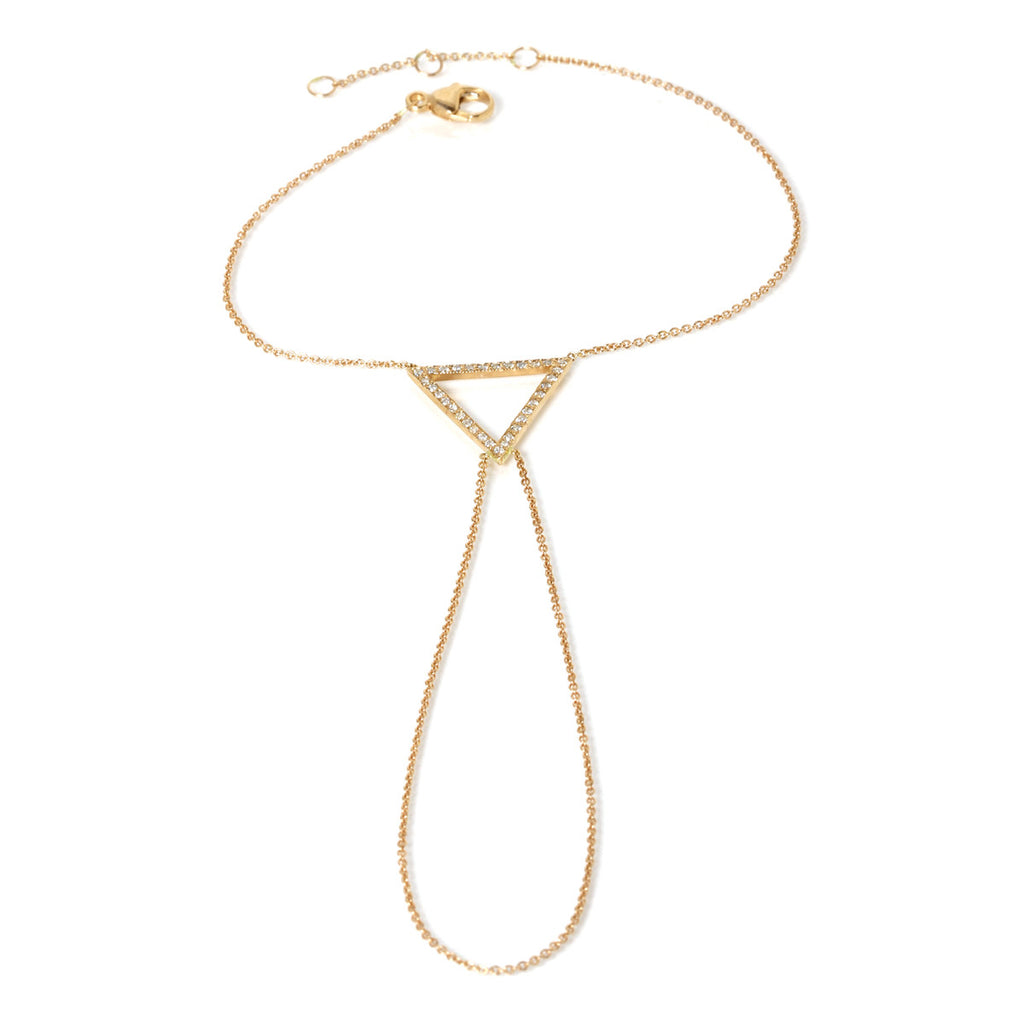 14k pave open triangle hand chain