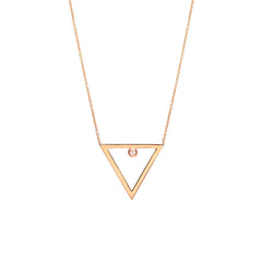 14k open triangle diamond necklace