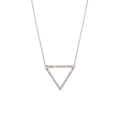 14k pave open triangle necklace