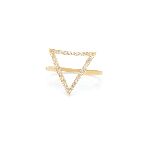 14k pave large open triangle ring
