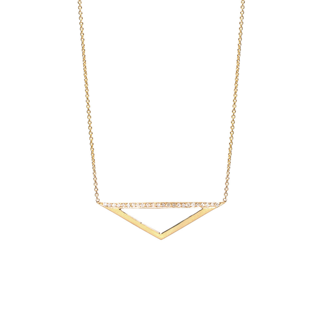 14k pave wide open small triangle necklace