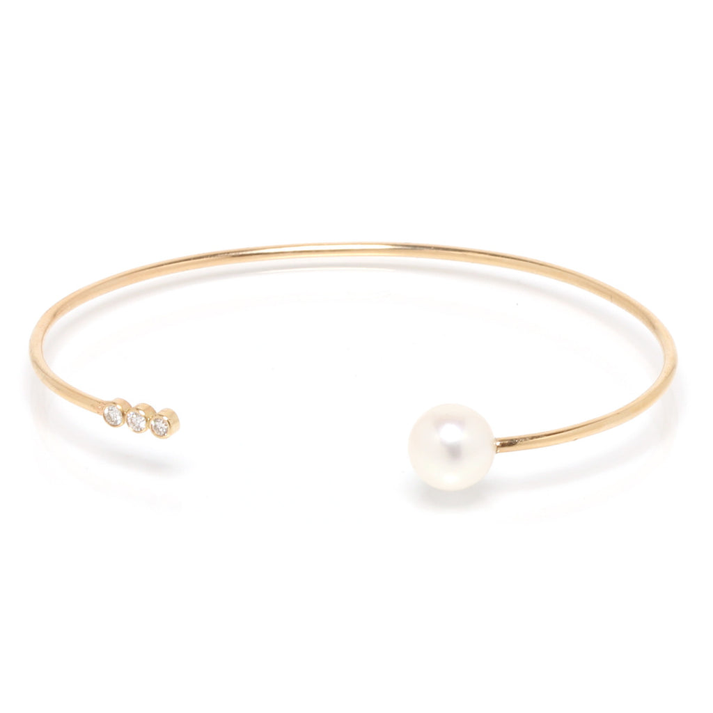 Zoë Chicco 14kt Yellow Gold 3 Bezel Set White Diamond and White Pearl Open Cuff Bracelet