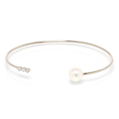 Zoë Chicco 14kt White Gold 3 Bezel Set White Diamond and White Pearl Open Cuff Bracelet