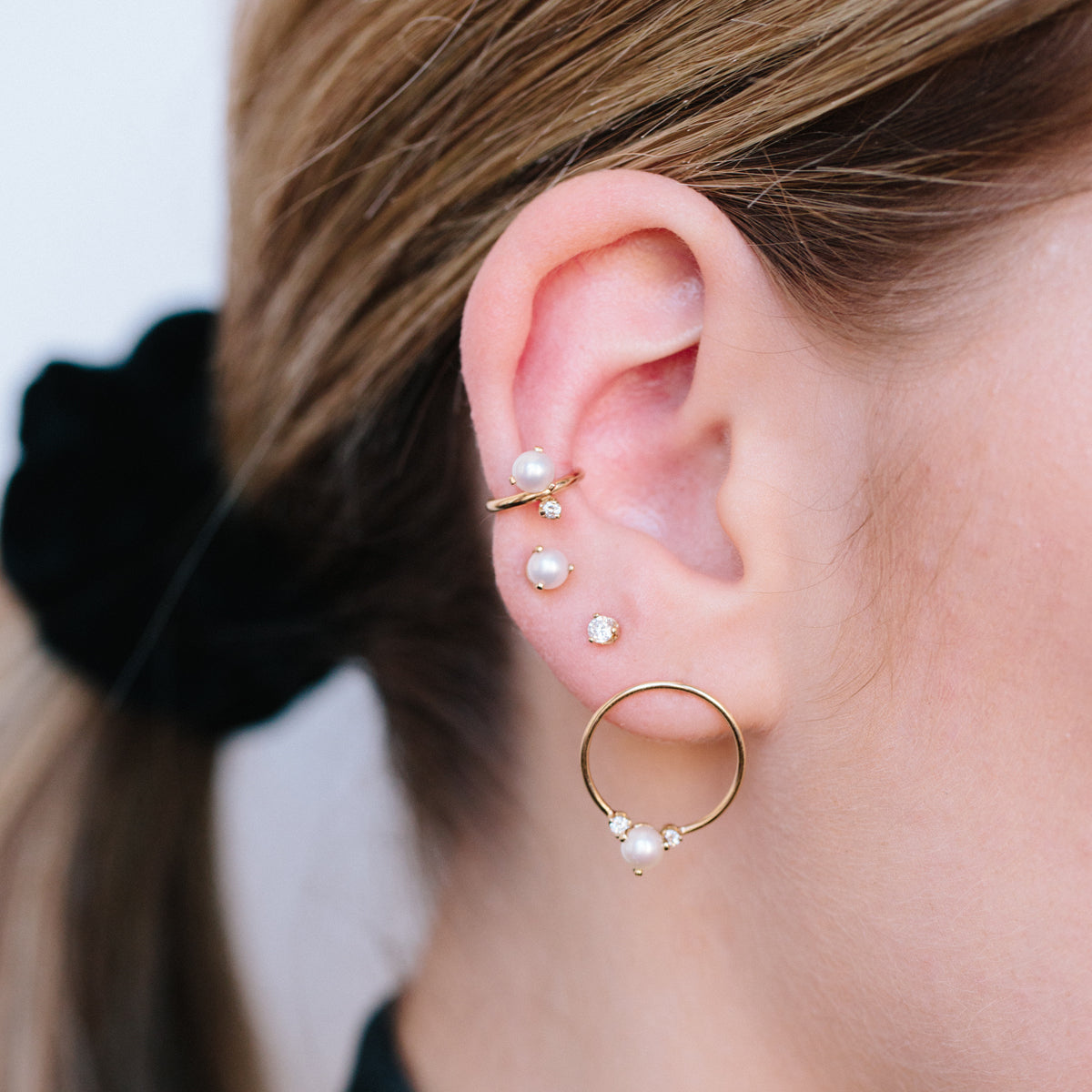 2 Drop Gift for Her Round Pearls 14K Pearl Dangle Earrings 14K Yellow Gold Pale Pink Natural Circl\u00e9 Pearl Earrings