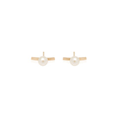 14k curved bar staple pearl studs