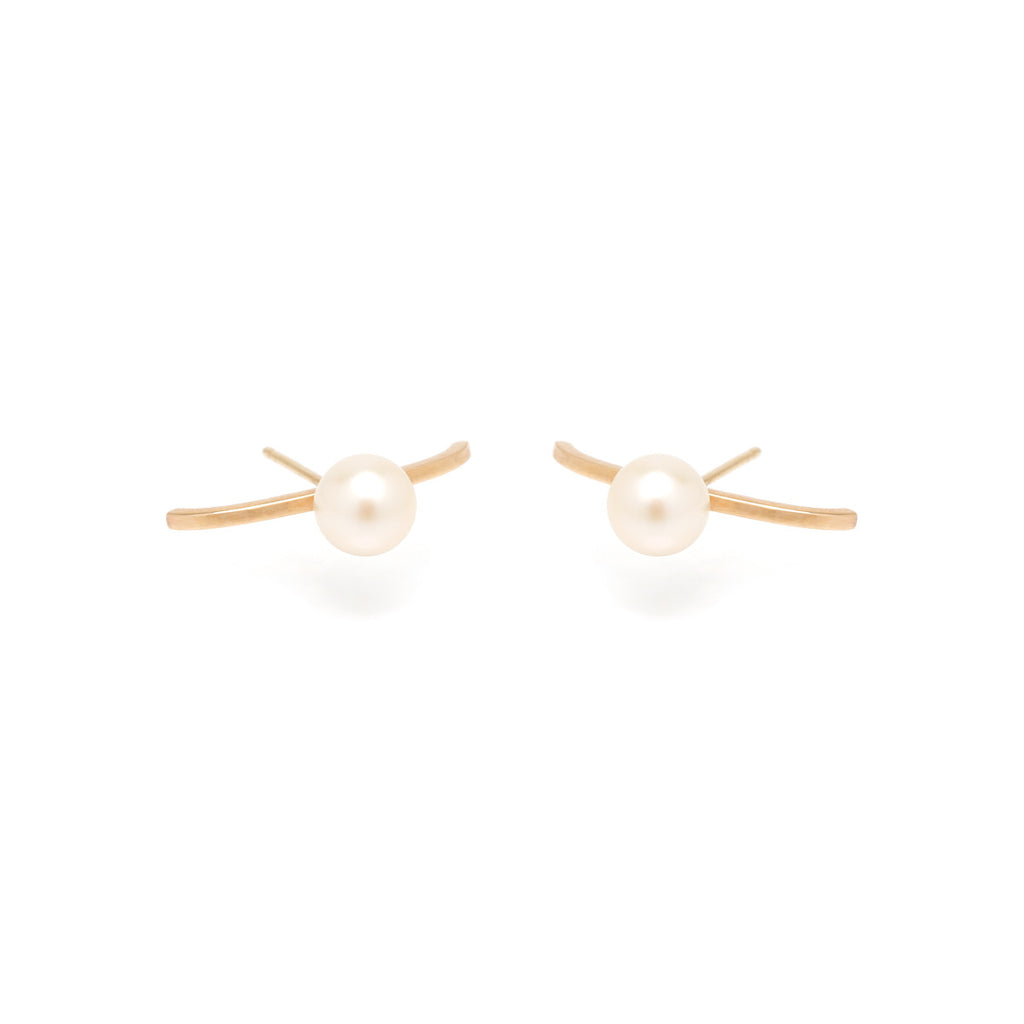 14k long curved bar staple pearl studs