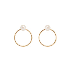 14k pearl circle stud charm set