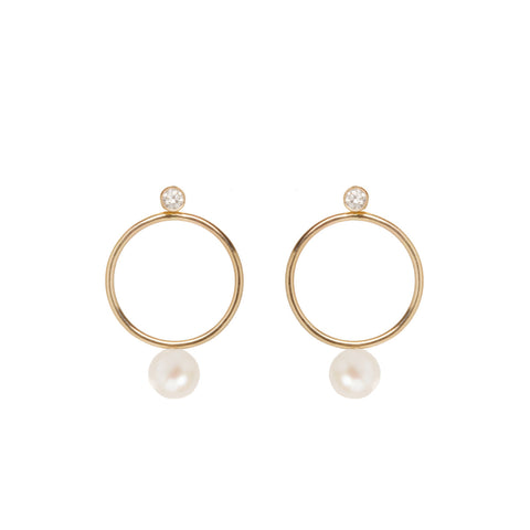 14k pearl and diamond circle stud charm set