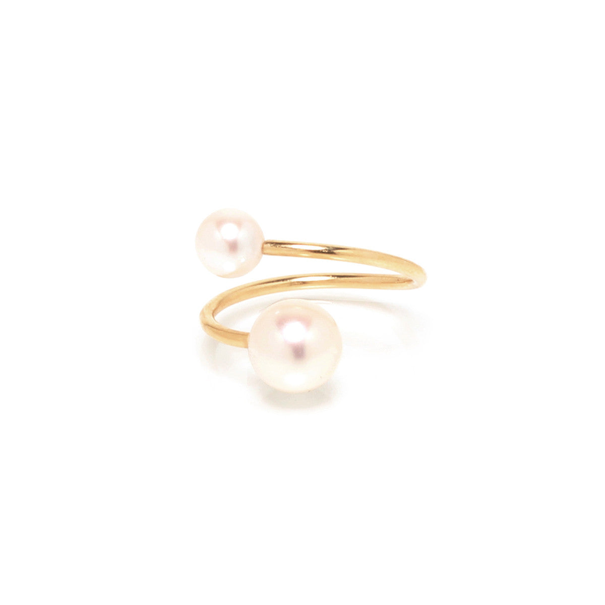14k double pearl bypass ring