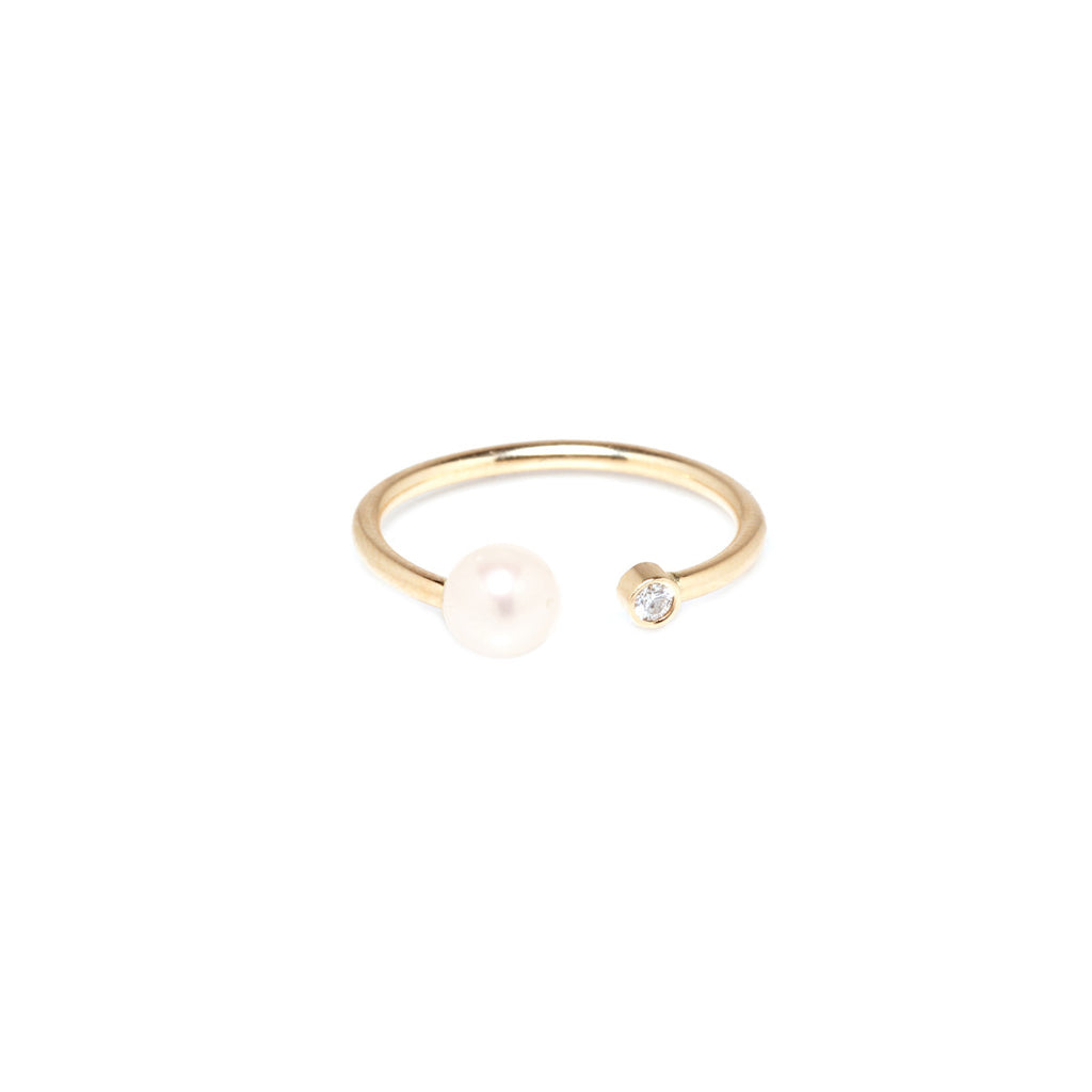 14k open pearl and diamond ring