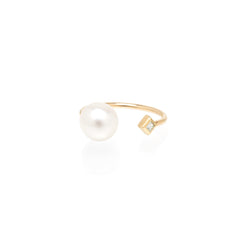 14k open pearl and princess diamond ring
