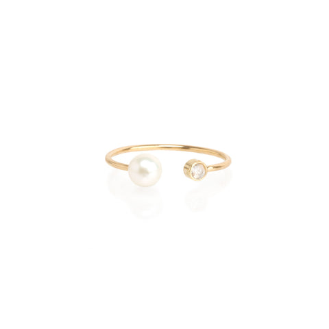 14k open tiny pearl and diamond ring
