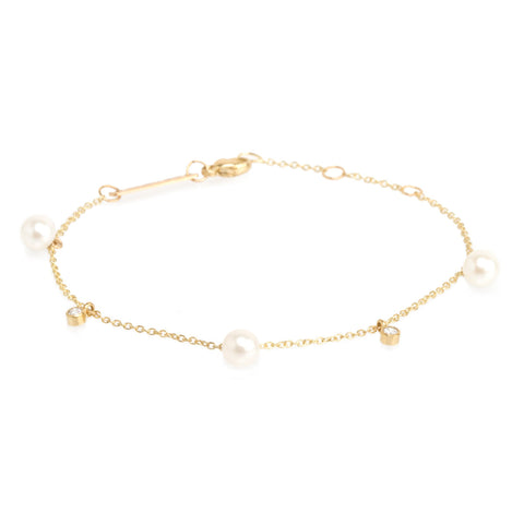 14k pearl and diamond dangle bracelet