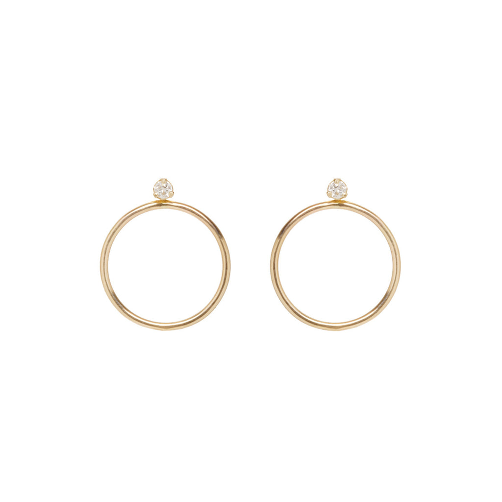 Zoë Chicco 14kt Gold White Diamond Prong Circle Stud Earring Charm Set