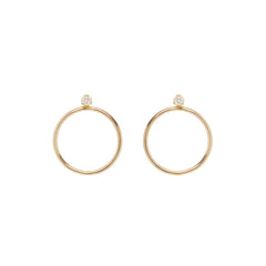 Zoë Chicco 14kt Yellow Gold White Diamond Prong Circle Stud Earring Charm Set