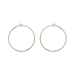 14k diamond prong medium front facing circle hoops