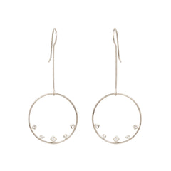 14k mixed shaped diamond large circle wire earrings