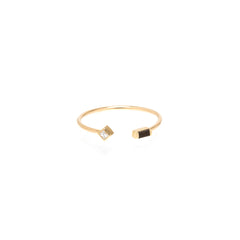 Zoë Chicco 14kt Yellow Gold Black Baguette Diamond Princess Cut Diamond Open Ring