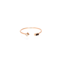 14k black baguette and princess diamond open ring