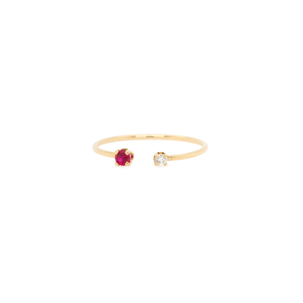 14k Open Prong Set Diamond & Ruby Ring