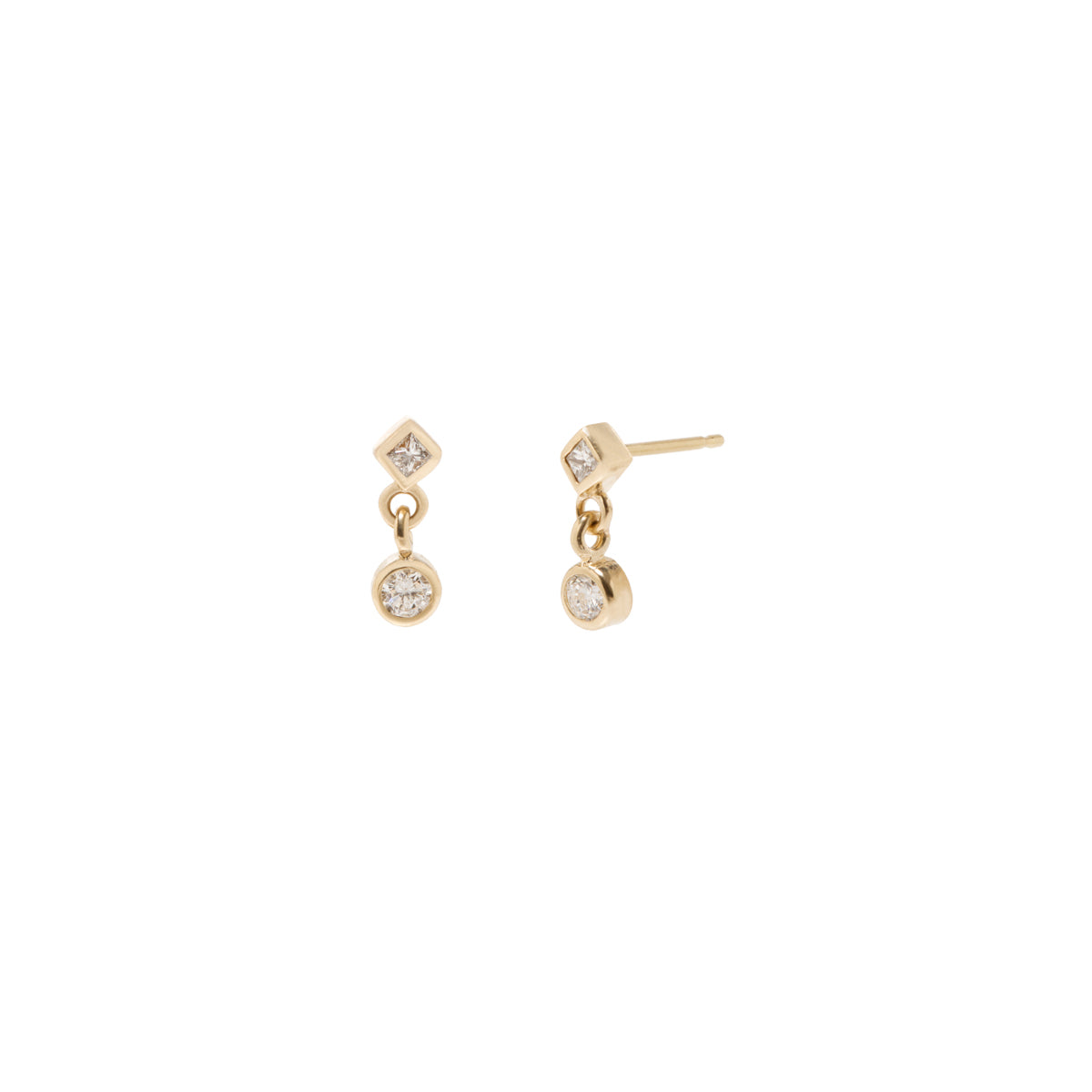 maria yellow gold tash earring hoop and stud drop diamond white