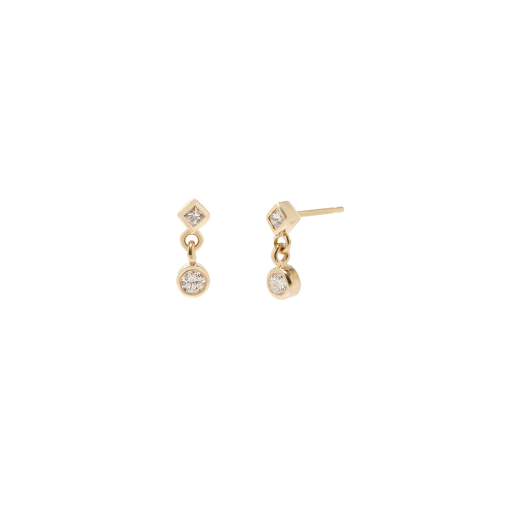 14k mixed diamond drop stud earrings