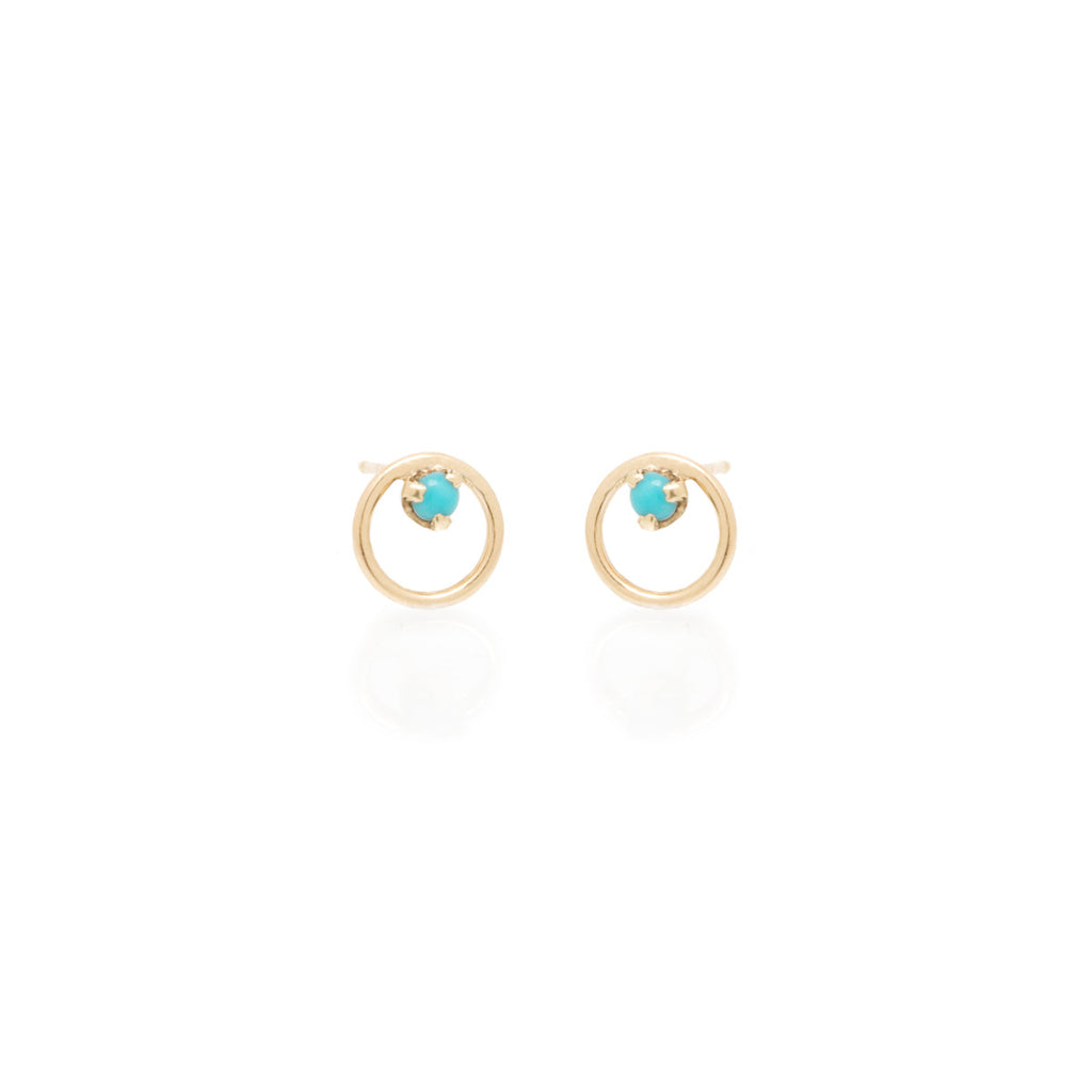 Zoë Chicco 14kt Yellow Gold Circle Turquoise Prong Stud Earrings