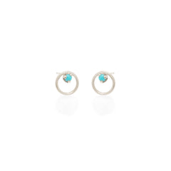 Zoë Chicco 14kt White Gold Circle Turquoise Prong Stud Earrings