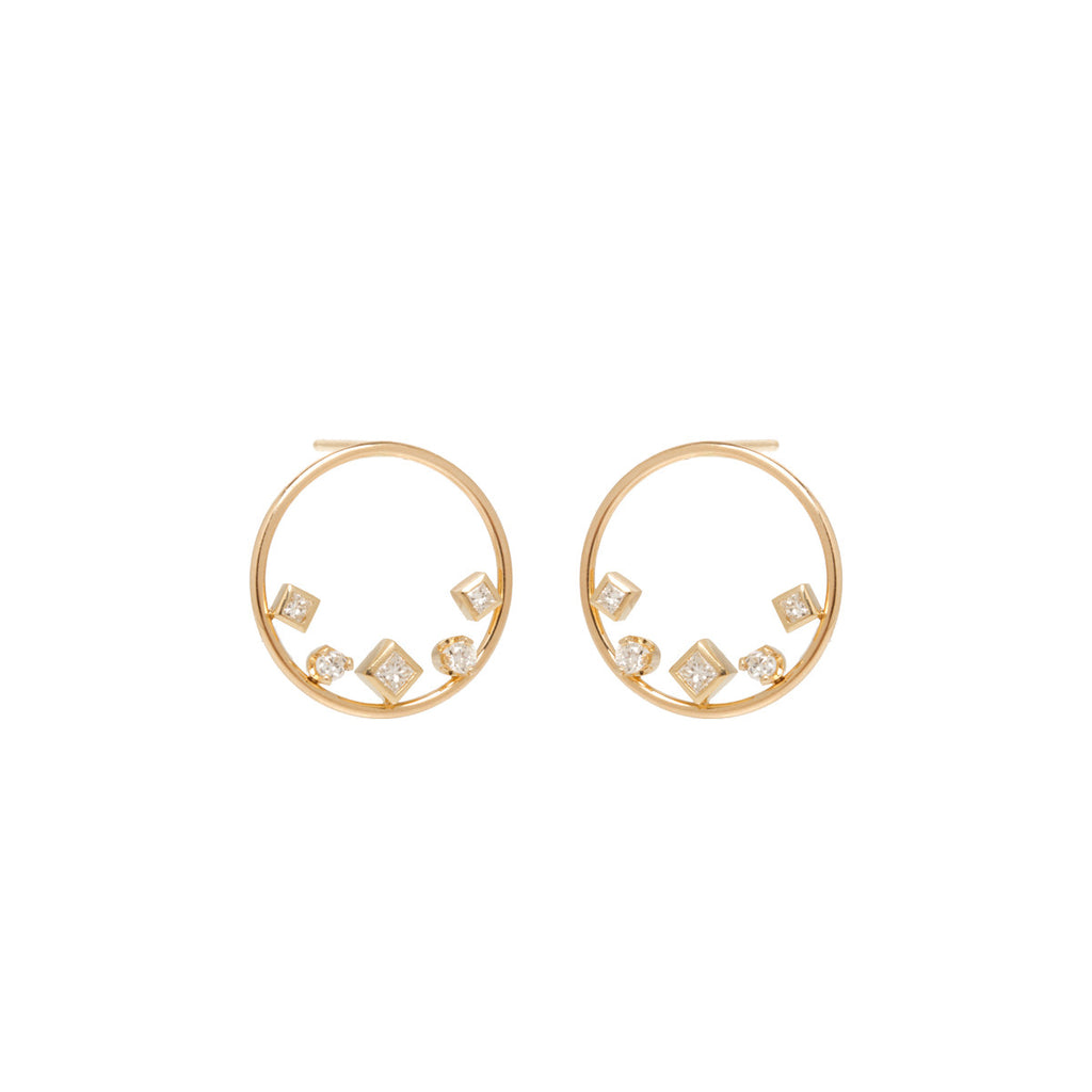 14k mixed shaped diamond circle stud