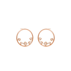 14k mixed shaped diamond circle studs