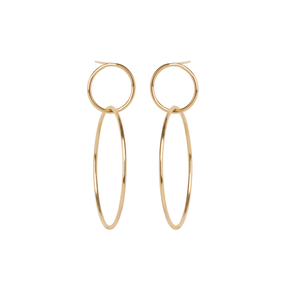 14k large double circle hoop earrings