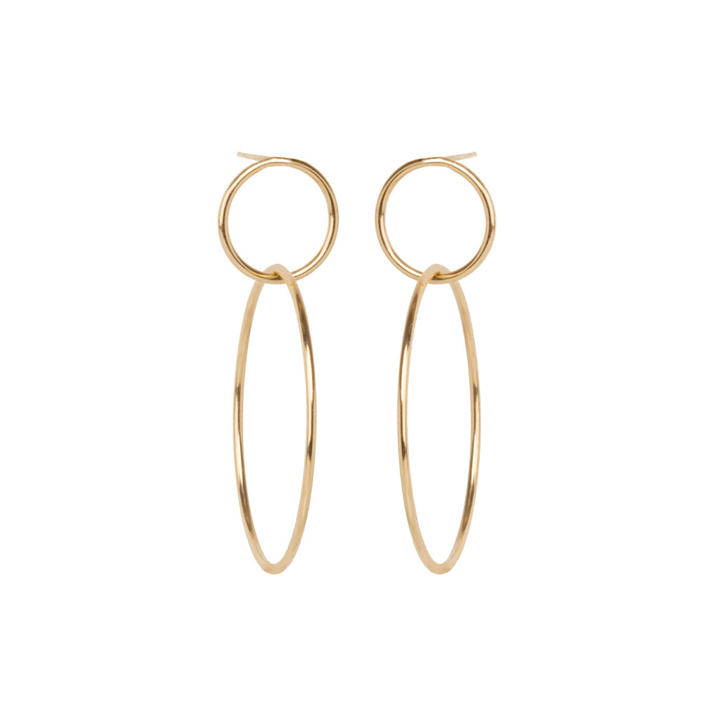 14k double circle hoop earrings