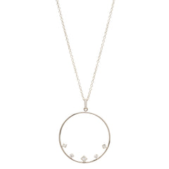 14k mixed diamond circle necklace