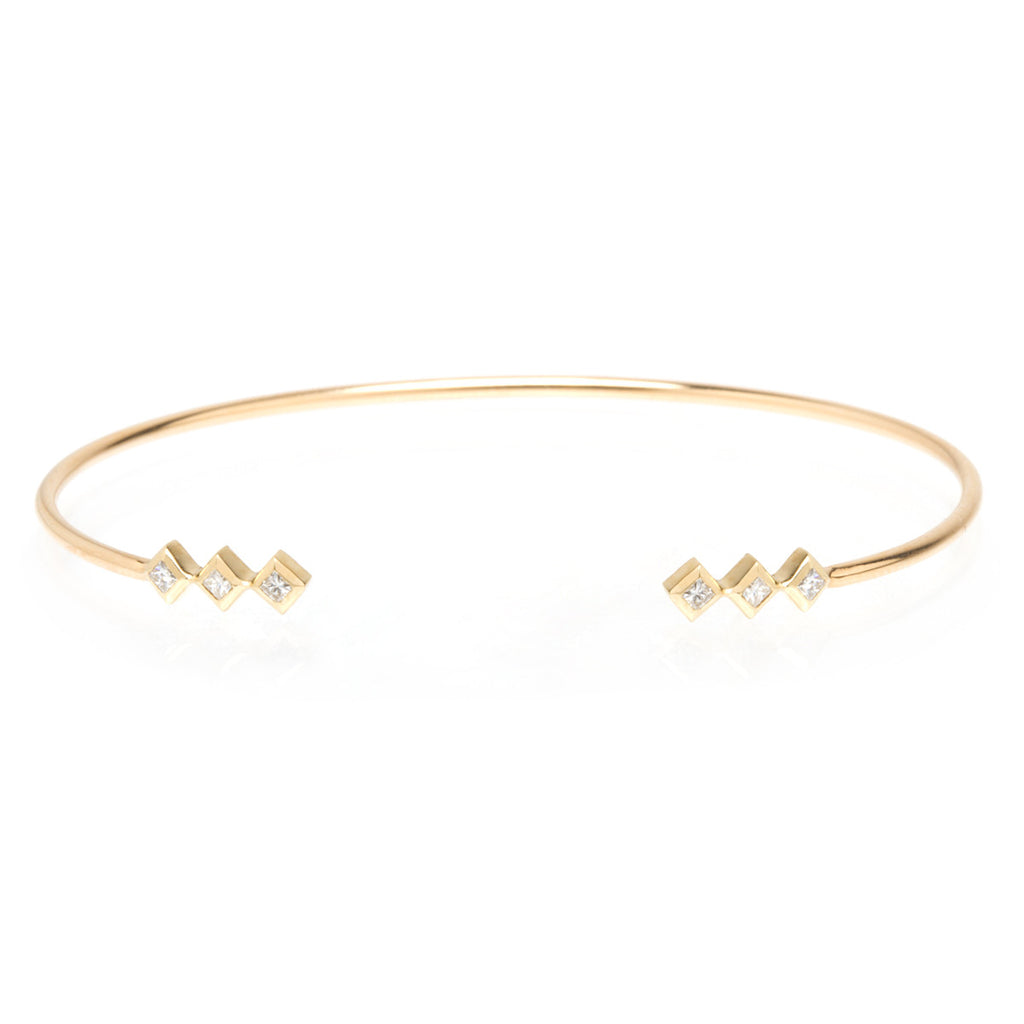14k princess diamond open cuff