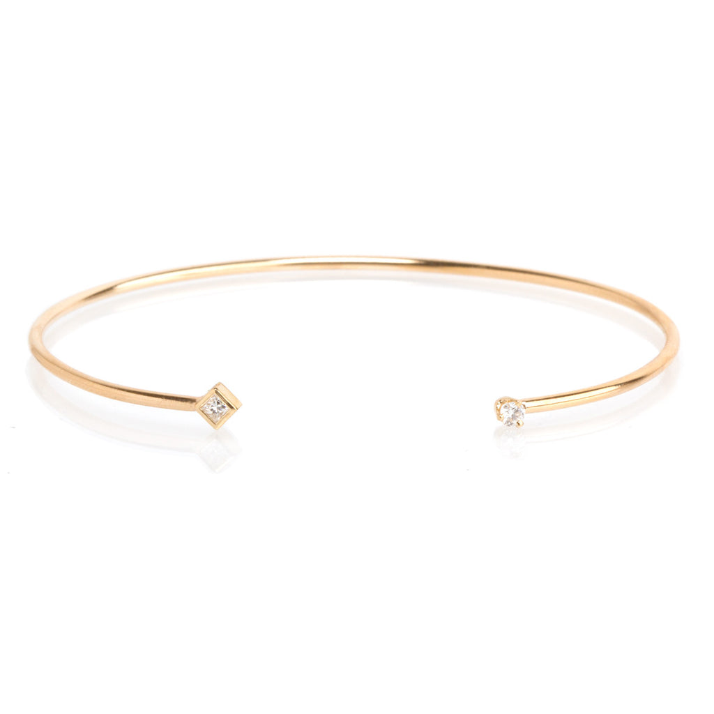 14k mixed diamond open cuff bracelet