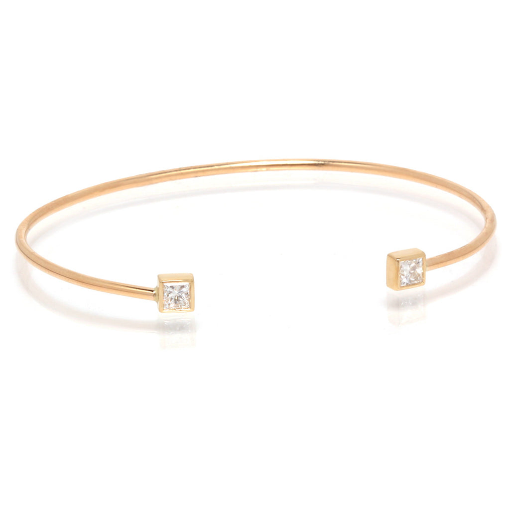 14k open princess diamond cuff