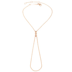 Zoë Chicco 14kt Rose Gold 3 Princess Cut White Diamond Hand Chain