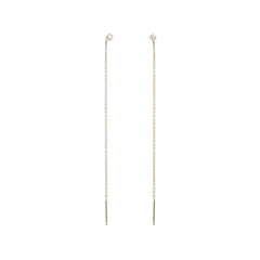 14k princess diamond stud long threaders