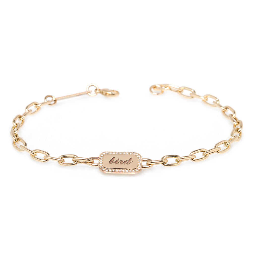 14k PERSONALIZED ROUNDED RECTANGLE BRACELET WITH DIAMONDS