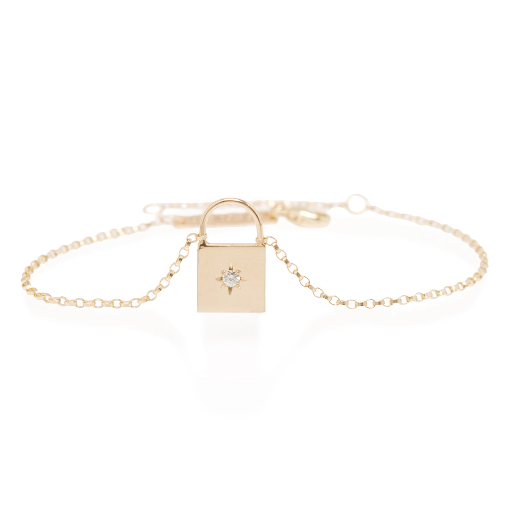 14k star set diamond padlock bracelet