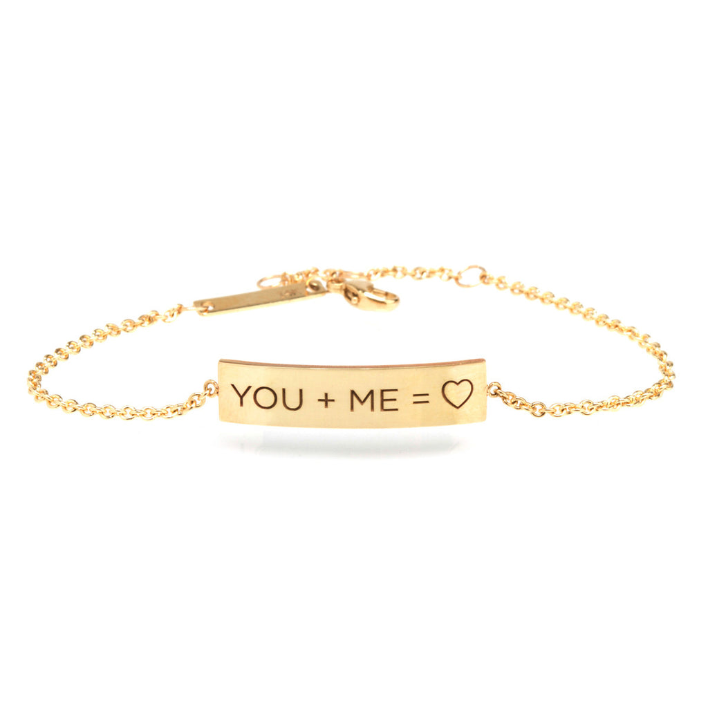 14k gold you and me ID bracelet