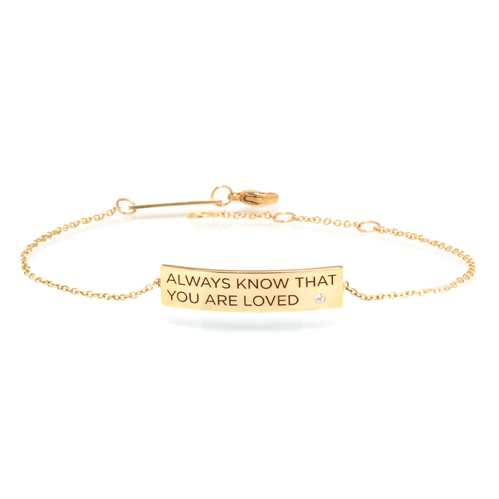 14k gold customizable ID bracelet with diamond