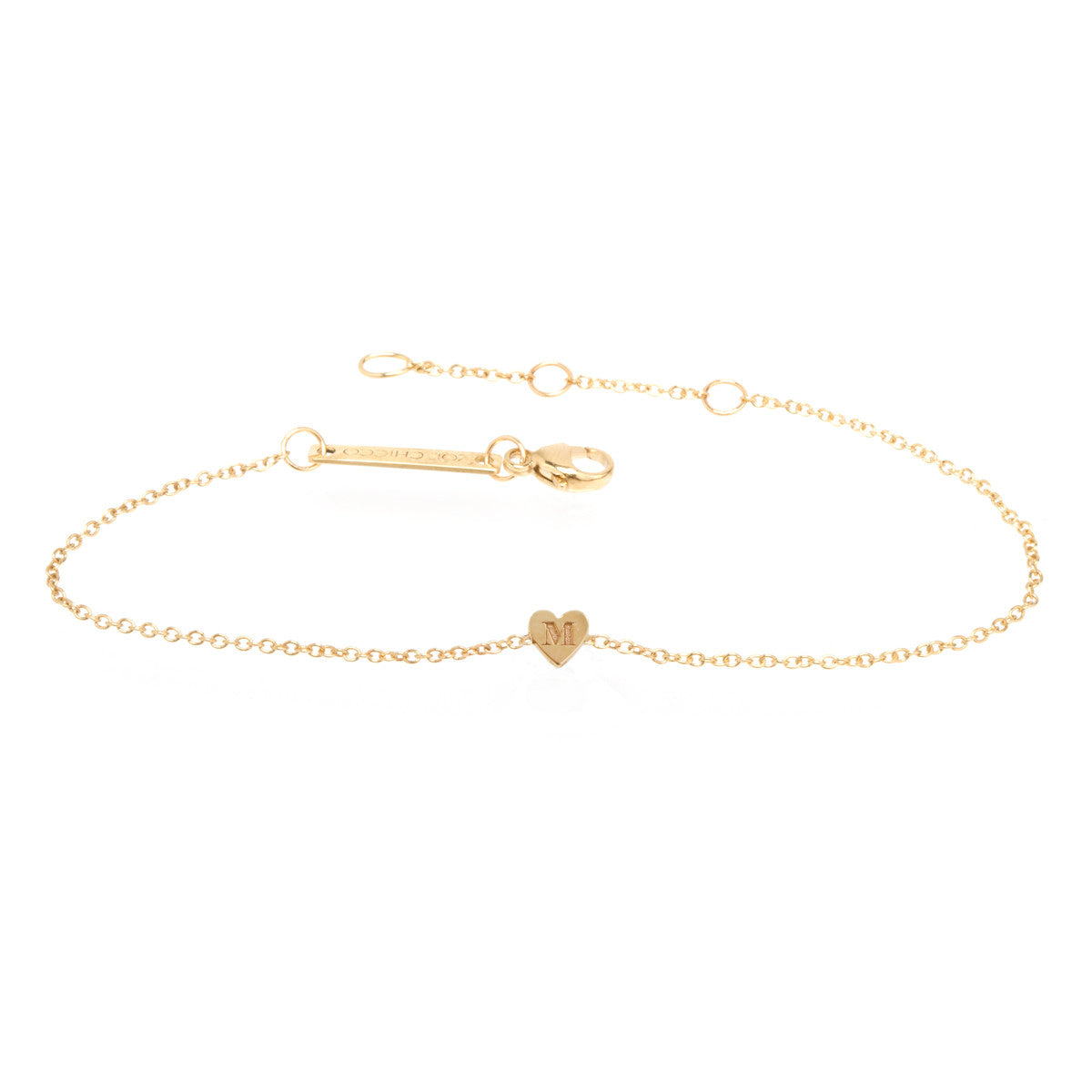 Zoë Chicco 14kt Yellow Gold Initial Heart Bracelet