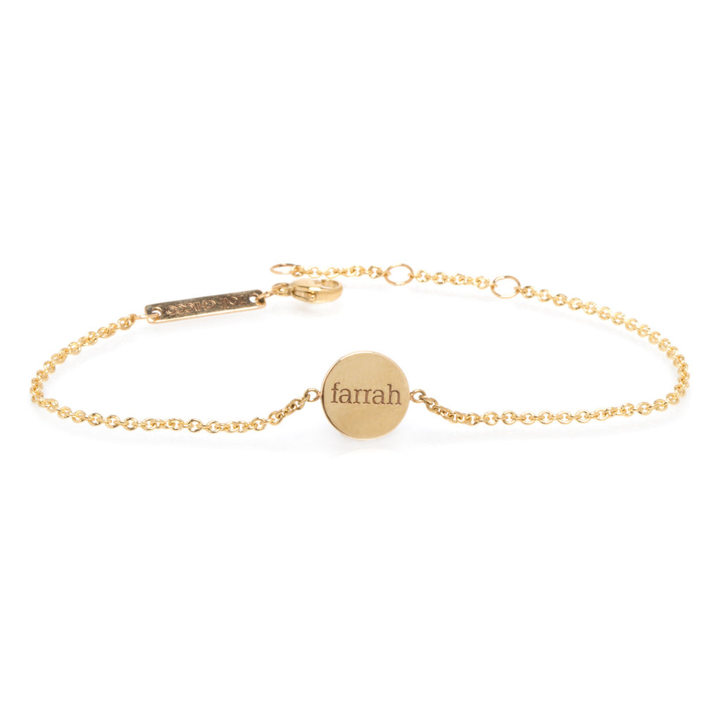 Zoë Chicco 14kt Yellow Gold Engravable Small Disc Bracelet
