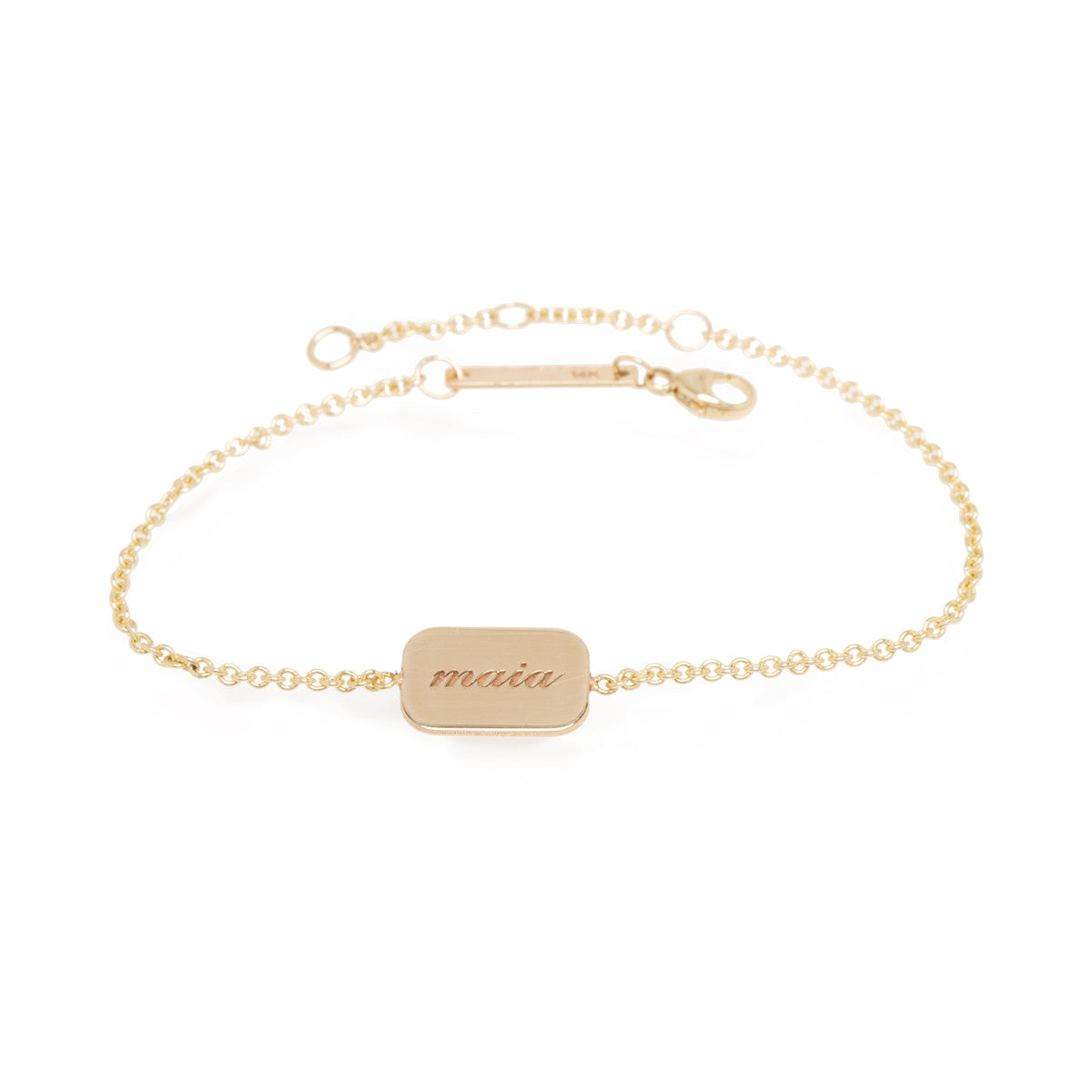 Zoë Chicco 14kt Yellow Gold Engravable Rectangle Disc Bracelet