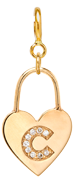 14k pave diamond initial heart padlock charm pendant on spring ring