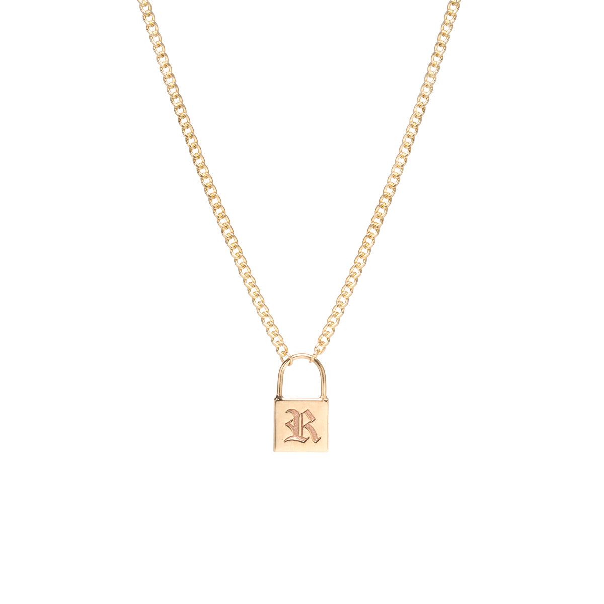 14k small padlock necklace with old English initial