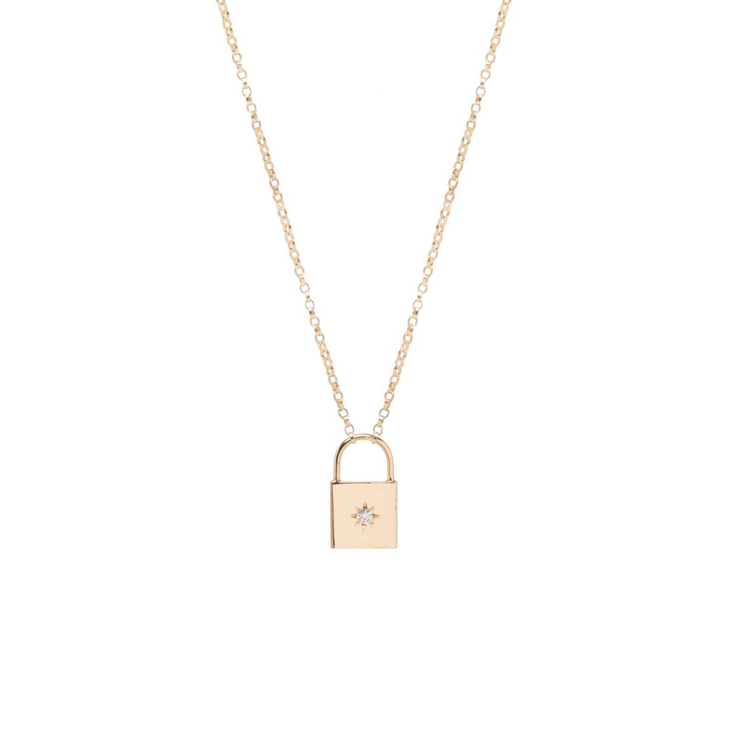 14k star set diamond padlock necklace
