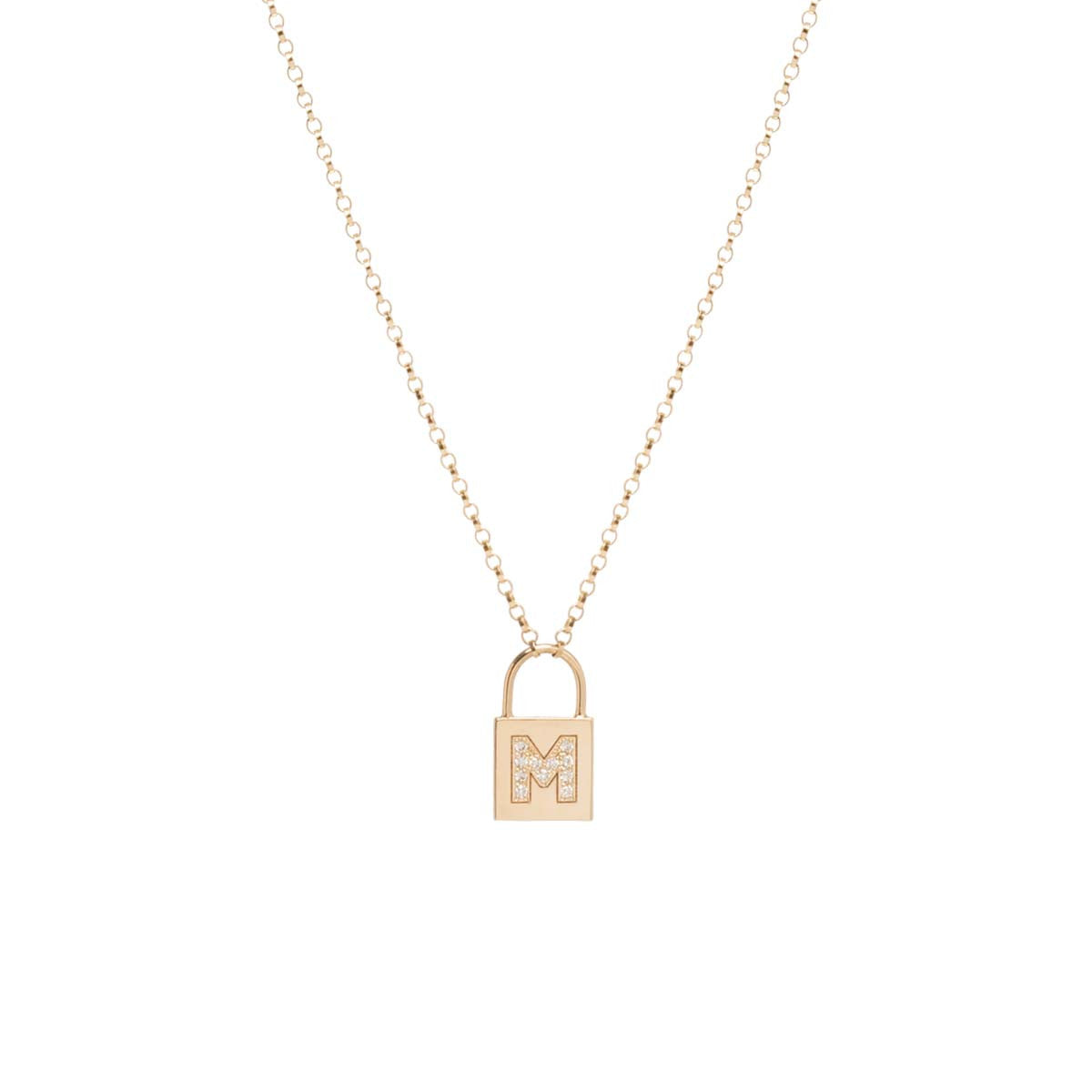 14k pave diamond initial padlock necklace